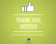 Thank you, voters. 2018 Sinking Fund Proposal Passes