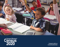 United States Census 2020 with photo of children raising their hands.