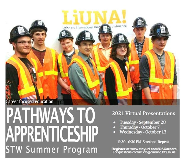 Pathways to Apprenticeship for Fall 2021