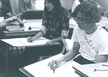 High School students learning in the 1970s