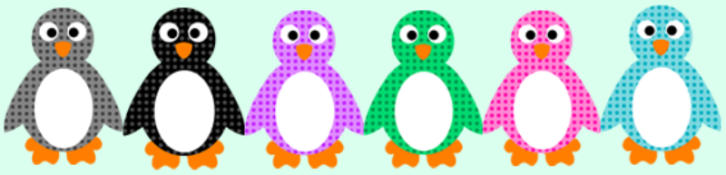 Cartoon Colorful Penguins